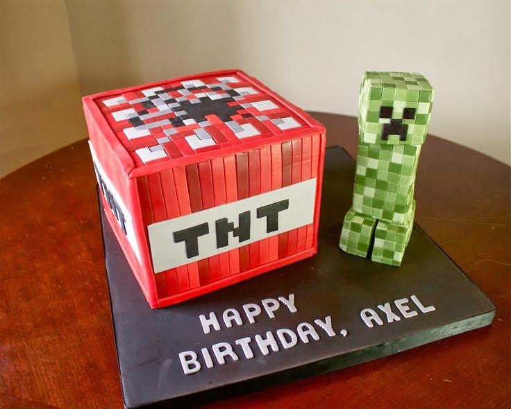 Sara Elizabeth Cakes & Sweets: Cake Gallery. Minecraft TNT Cake with Creeper Rice Krispie Treat figure.