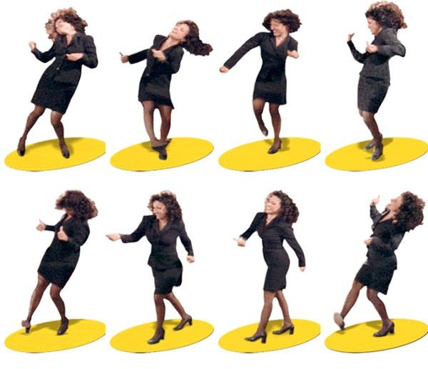 "Seinfeld's Elaine Benes ""dancing"".  A subtle tribute to Robert Longo's ""Men in the Cities"" art series."