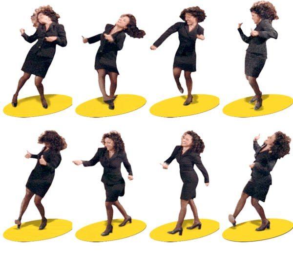 "Seinfeld's Elaine Benes ""dancing"".  A subtle tribute to Robert Longo's ""Men in the Cities"" art series. Follow steps (Repeat)..."