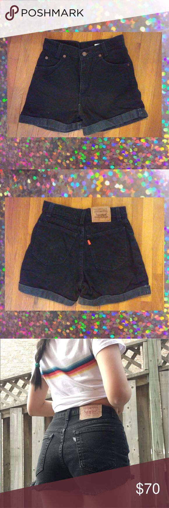 """Levi high waisted black denim shorts vintage✨ Levi high waisted vintage red tag black cuffed denim black shorts  red tag super cute & measured to a 26"""" waist so would fit a size 2-6 or waist size 24""""-27"""" with stretch  wear with your fave band tee or crop top!!  #levis #vintage #nastygal #topshop #90s #70s #highwaisted #denimshorts Levi's Shorts Jean Shorts"""