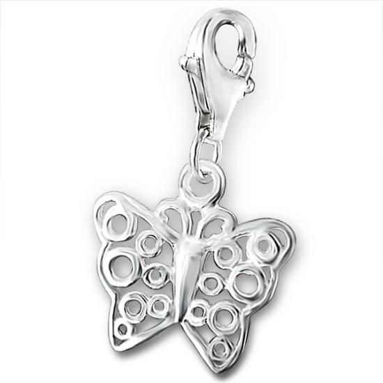 Sterling Silver Swirly Butterfly Clip on Charm
