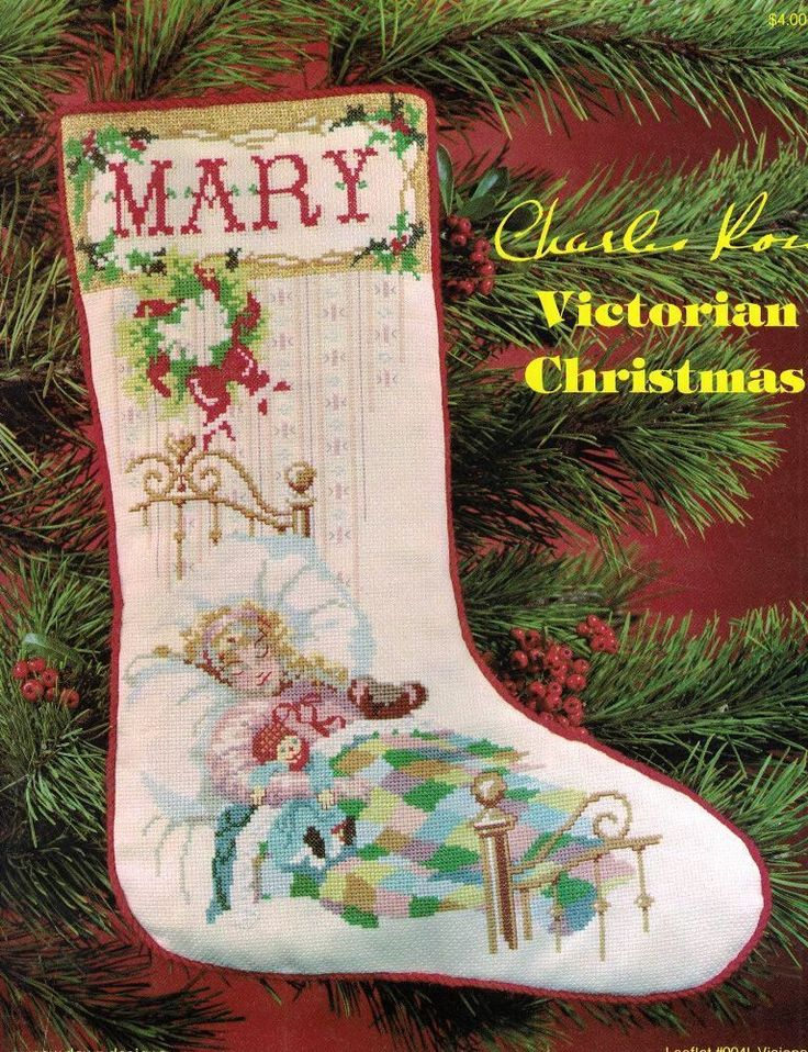 Charles ross victorian christmas stocking mary tucked in for Charles craft christmas stockings