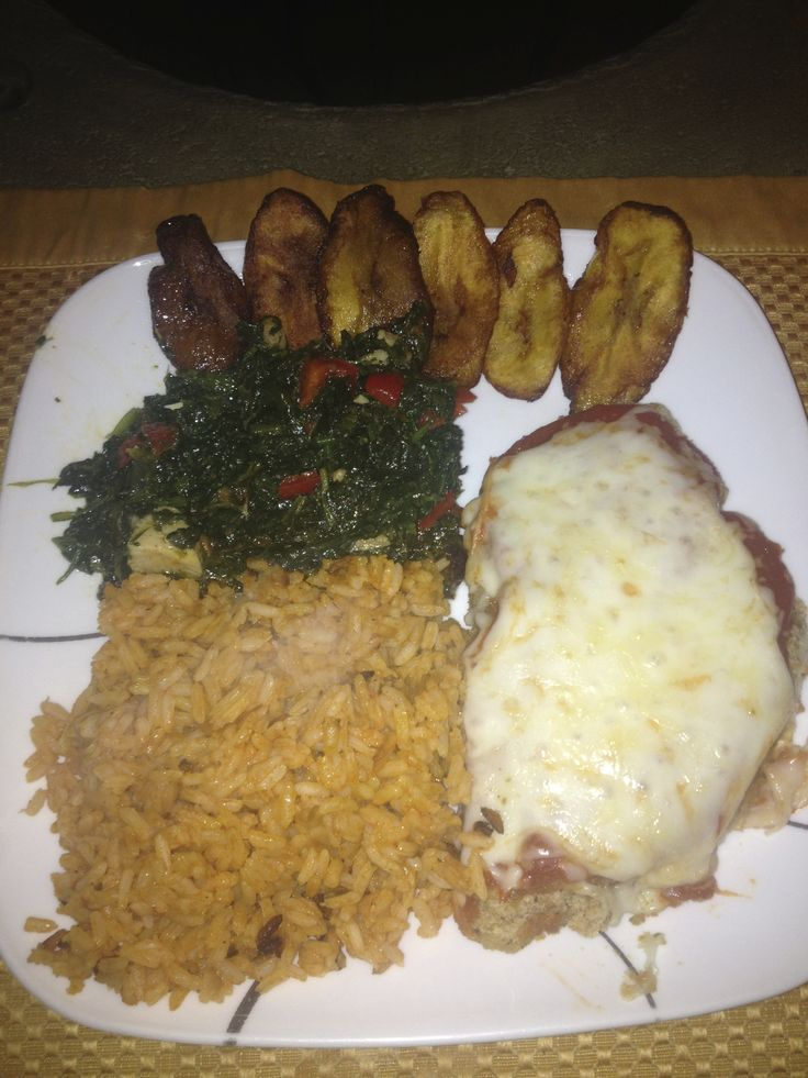 ... Chicken Parmesan with Jollof Rice, Efo (Nigerian Spinach dish) and