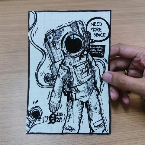 Astronaut pen sketching by luthfiahra