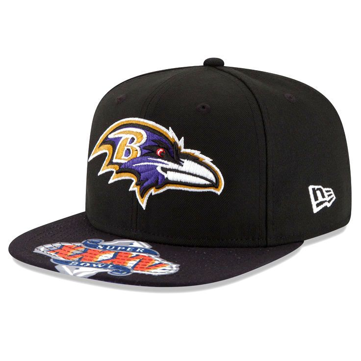 Baltimore Ravens New Era Super Bowl XXXV On The Fifty Jumbo Vize Original Fit 9FIFTY Adjustable Hat - Black - $25.59