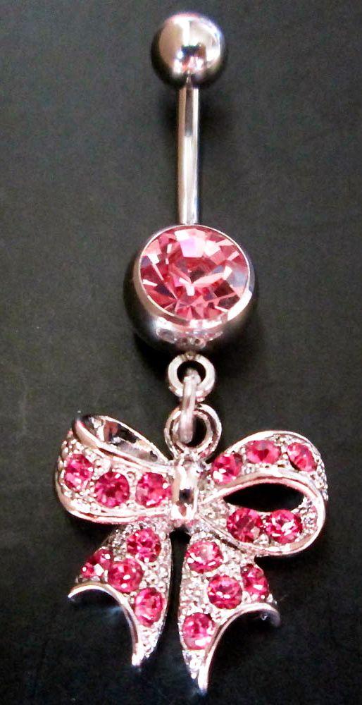 Bling Cute Bow Crystal Gem Belly Button Navel Rings Bar Body Piercing GIFT