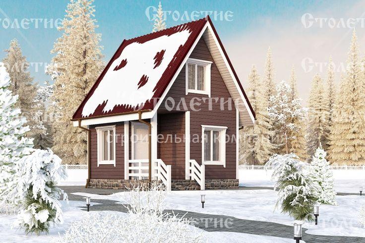 Проект дома ДБ-07 размером 4 на 4 метра в цветом решении Зима