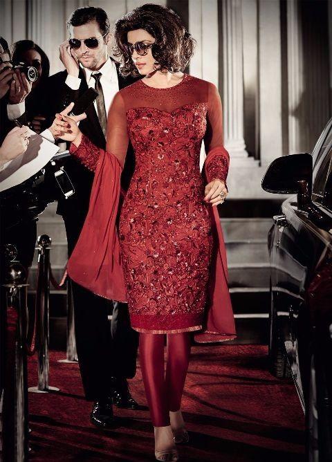 Priyanka Chopra Silk Machine Work Red Semi Stitched Bollywood Designer Suit - 5118