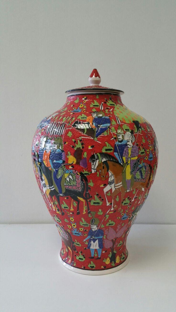 Armada çini osmanli minyatür  işlemeli 50 cm sah vazo
