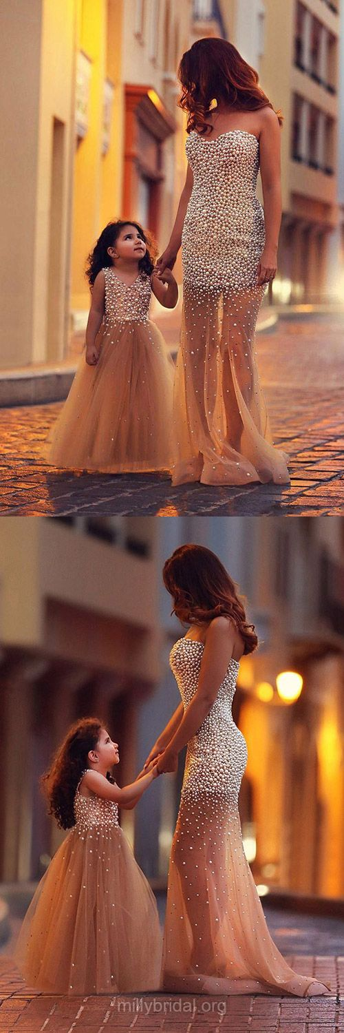 Mermaid Prom Dresses, Gold Prom Dresses, Mother and Daughter Dresses, Sweetheart Formal Dresses, Sexy Party Gowns