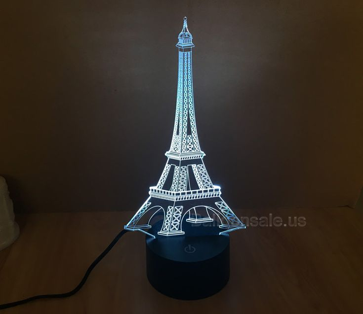 NEW 7 Color Changing Bulbing Light Eiffel Tower Visual Illusion LED Lamp Action Figure Toy Christmas Gift