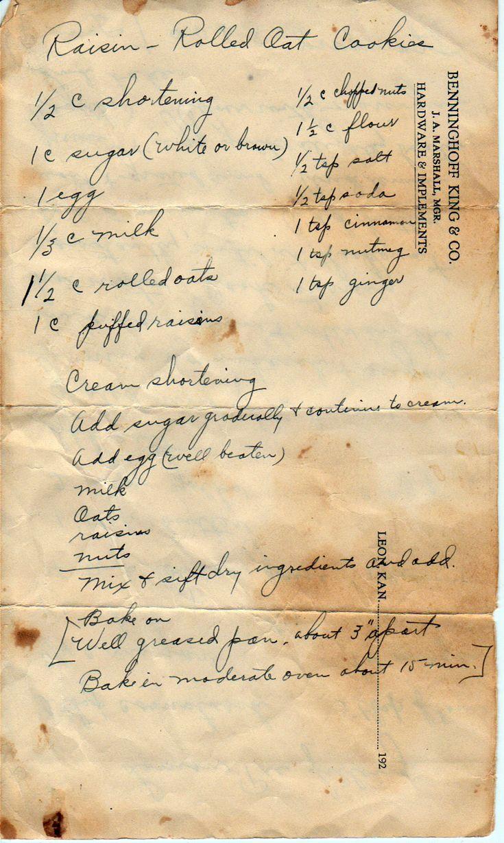 A Grandma's Handwritten Recipe.
