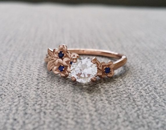 White Sapphire and Blue Sapphire Engagement Ring by PenelliBelle