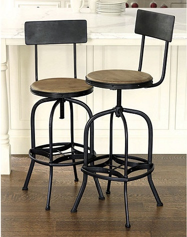Allen Stool With Back Rest Traditional Bar Stools And