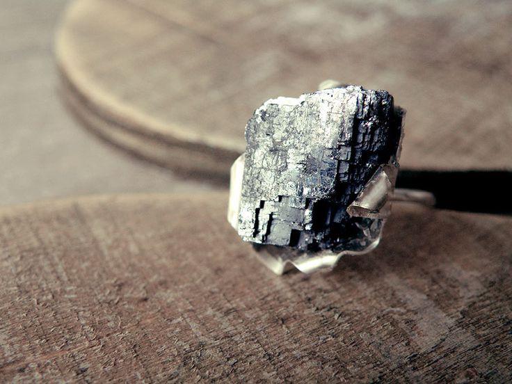 anneau de pierre brute anneau de Pierre de galène geode by MisMundos   Etsy
