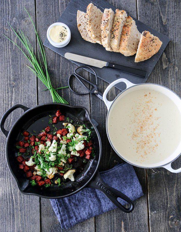 Blomkålsuppe med chorizo