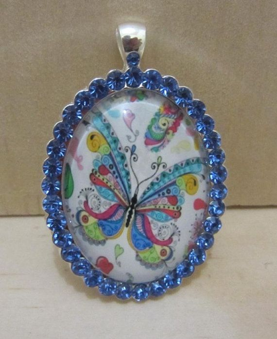 Blue Crystal Edged Cameo  Multi coloured butterfly by ImodFashion