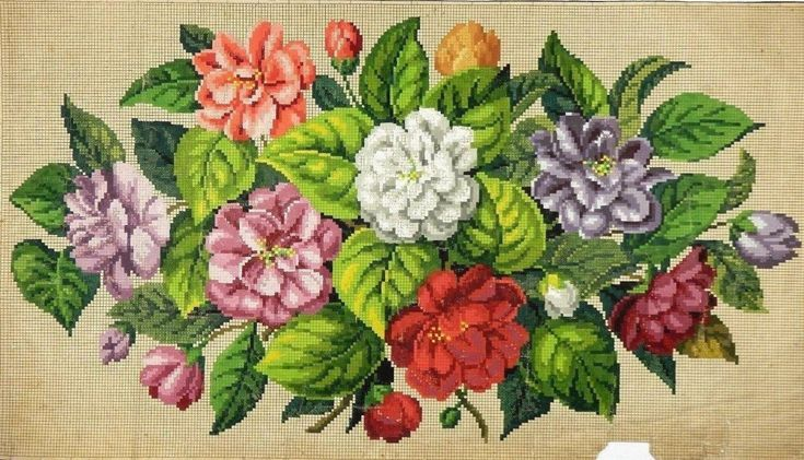 A Fabulous Berlin WoolWork Oval Floral Pattern