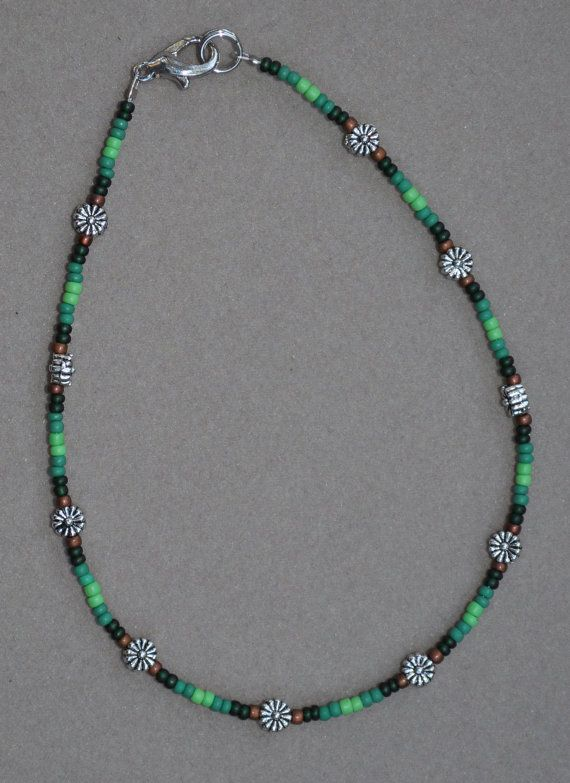 Jewelry - Anklets - Green Floral Beaded Anklet by JewelryArtByGail on Etsy
