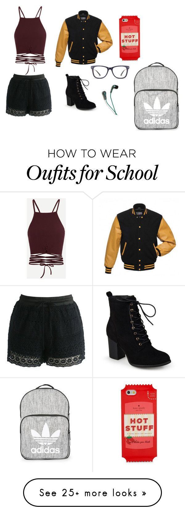 """""""First Day of School"""" by fandomfreak06 on Polyvore featuring Journee Collection, GlassesUSA, Warner Bros., Kate Spade, Chicwish and Topshop"""