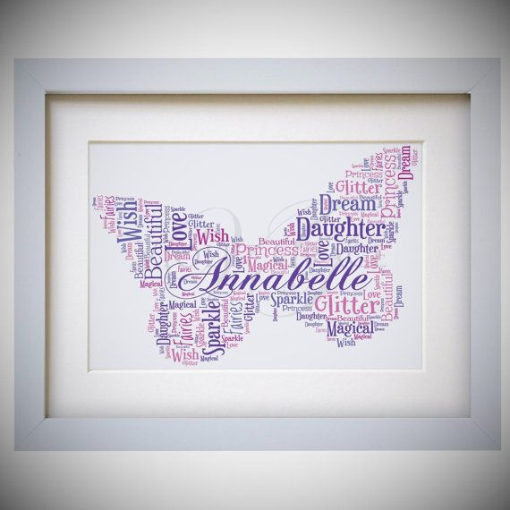 Personalised Butterfly Framed Word Art Cloud Gift by VioletGraceUK