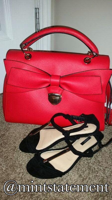 Bow tie Bag/Black Sandals #summerfashion #outfitpairings #boldcolors #mintstatement #crossbag