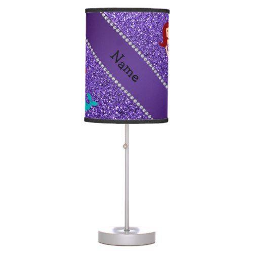 Personalized name mermaid purple glitter desk lamp