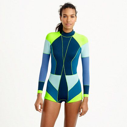 Our wave theory? Wetsuits can—and should—be sexy. Our friend and fellow New York City designer Cynthia Rowley created this neoprene wetsuit in colors just for us. The cut is short (read: no weird tan lines) and the fit is flattering. All the more reason to sign up for that surf clinic. <ul><li>Wear alone or over a swimsuit.</li><li>Neoprene.</li><li>Hand wash.</li><li>Import.</li></ul>