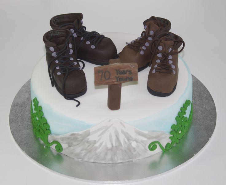 70th Birthday Cake   featuring Fondant Hiking or Tramping Boots, Ferns, Mt Taranaki