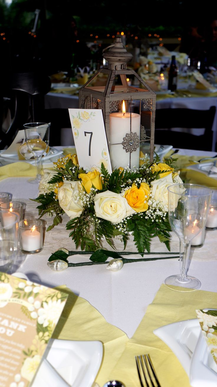 Plunkett wedding lantern centerpieces yellow