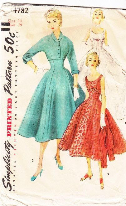 Simplicity 4782 - 50s Sleeveless, Empire Waist Dress Pattern