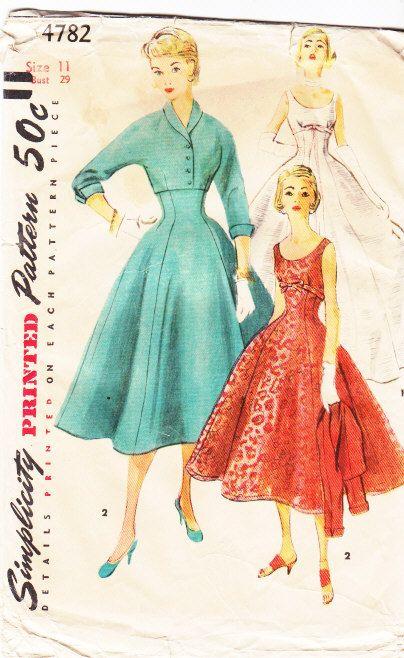 Simplicity 4782 - 50s Sleeveless, Empire Waist Dress Pattern
