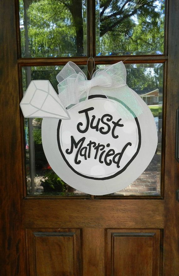 Just Married Giant Wedding Ring Door Hanger by