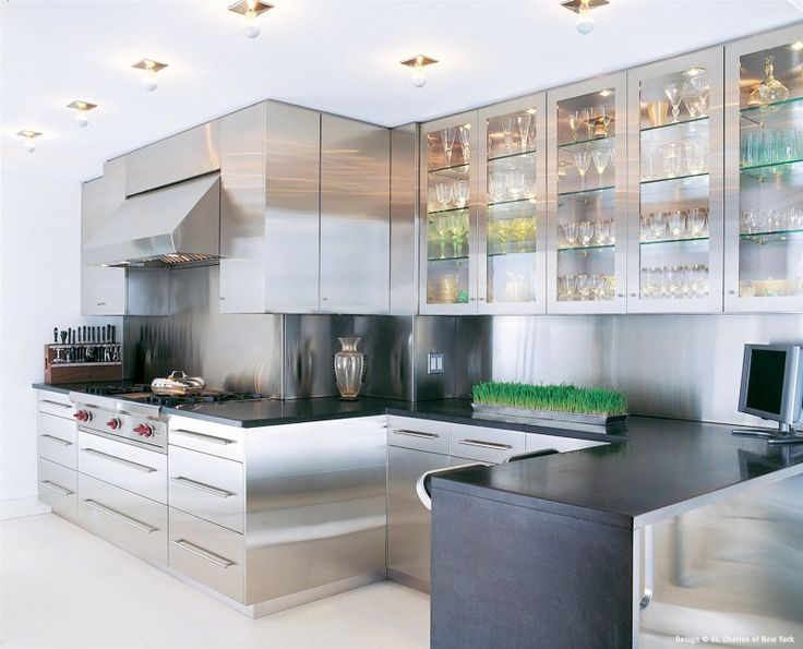 Modern Minimalist Stainless Steel Kitchen Inspiration Designs : Wonderful Minimalist Kitchen Inspiration Designs With White Floor Stainless Steel Kitchen Cabinets With Wine Glass And Knife Rack