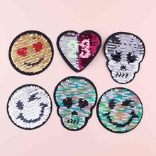 Prajña Grote Patch schedel Dubbele Kleur Omkeerbare Pailletten Liefde Hearted Naaien Patches voor kleding DIY emoji Patch Applique Ambachten(China)