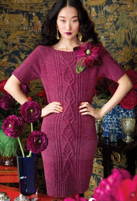Вязание платья Cable Panel, модель 11, Vogue Holiday 2012.. Обсуждение на LiveInternet - Российский Сервис Онлайн-Дневников