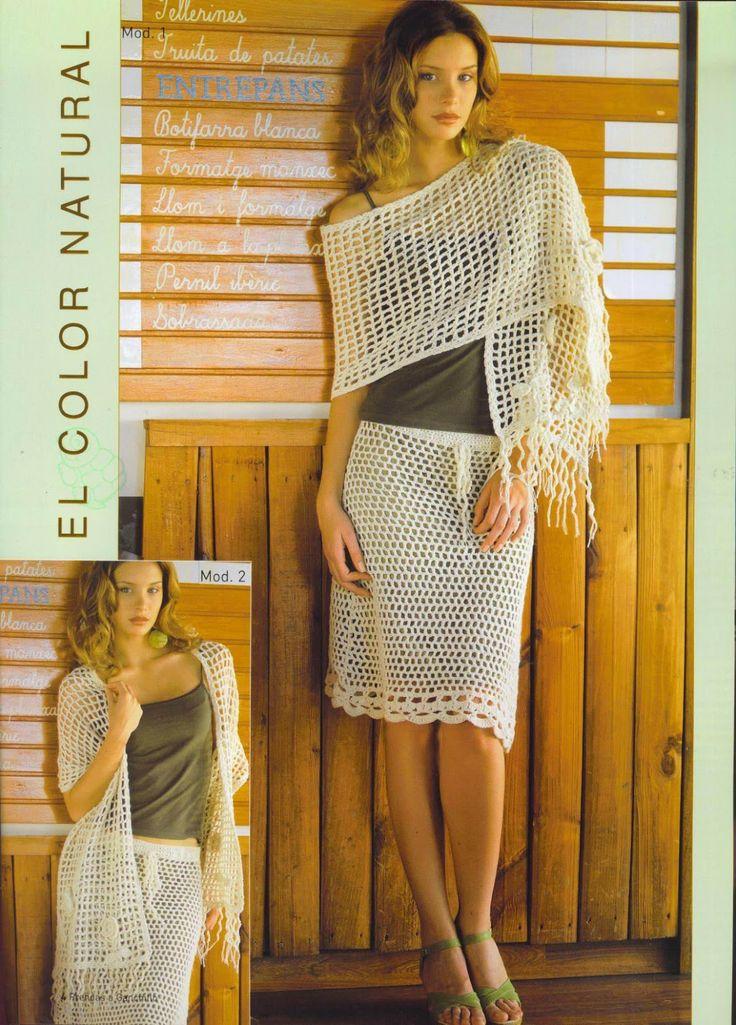 Patrones para Crochet: Patron Conjunto Falda y Chal - free chart in spanish + some charts