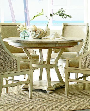 Americana Home Artisanu0027s Round/Oval Pedestal Dining Table   Weathered  White, American Drew, Americana Home Collection