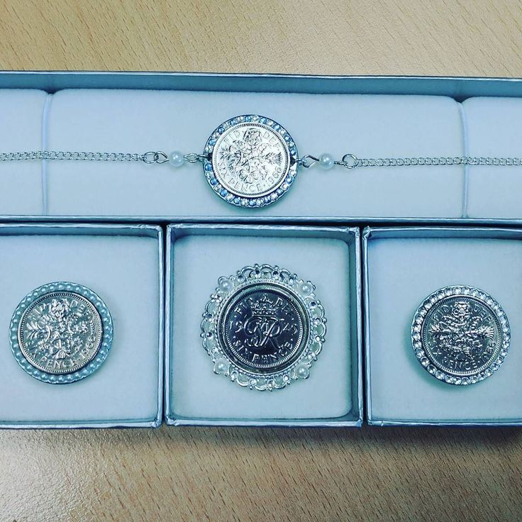 These 4 #luckysixpence designs were posted out yesterday! Hope they bring lots of luck xx #somethingold #somethingblue #anklet #shoeclip #weddingtraditions