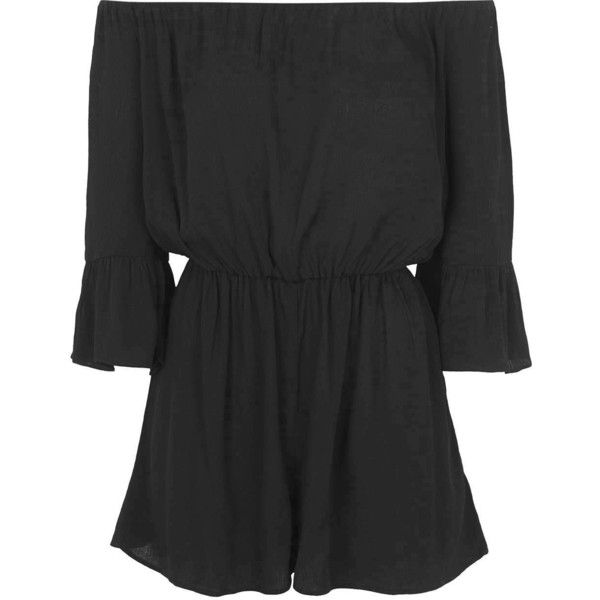 TOPSHOP PETITE Bardot Crinkle Romper ($68) ❤ liked on Polyvore featuring jumpsuits, rompers, playsuits, dresses, jumpsuit, vestidos, black, petite, black jumpsuit romper and topshop rompers