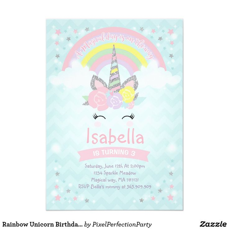 Rainbow Unicorn Birthday Invitation Pink Silver
