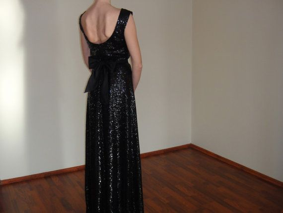 Sequin Maxi Evening Gown,Open Back Dress,Long Prom Dress,Navy Bridal Sequin Gown,Elegant Bridesmaid Floor lenght Dress,Low back Gown