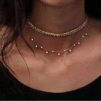 Great Compra Rose Gold Square Simple Necklace Long Layered Sexy Necklace en Wish- Comp…