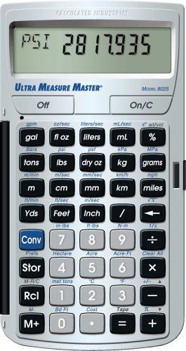 Calculated Industries 8025 Ultra Measure Master Measurement Conversion Calculator, Silver by Calculated Industries. $37.95. Amazon.com                    The most complete, easy-to-use conversion calculator, the Ultra Measure Master (model 8025) from Calculated Industries makes quick work of converting between imperial and metric measurements, and it's ideal for engineers, architects, scientists, construction pros, students, and more. Quick, Accurate Solutions in ...
