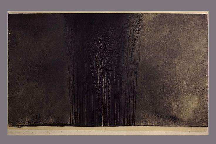 Monotype-Groupe d'arbres, crépuscule-Gerard Jan