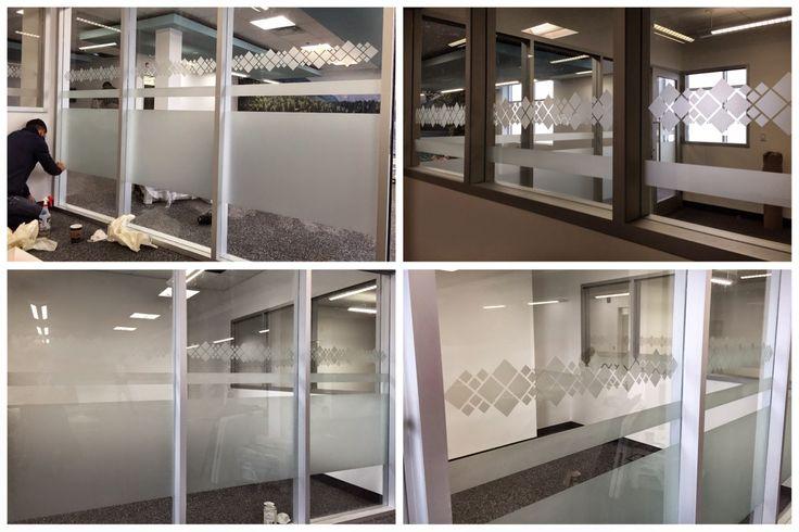 Frost vinyl applied to office windows as privacy film #windowfrost #windowgraphics #vinylfrost