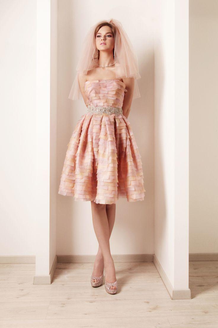 Spectacular Rami kadi wedding dresses bridal collection informal pink wedding dress with pink short veil