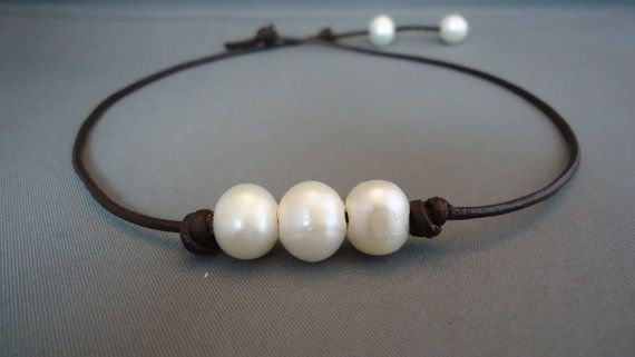 Three wishes Pearl Leather Necklace