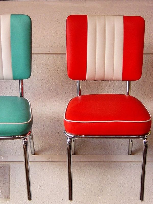 50s retro colorful vinyl chairs. Love the striping on these, and the chrome detail on each chair - perfect for a vintage kitchen!
