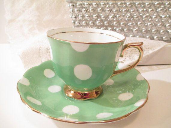 Royal Albert Green Polka Dot Tea Cup and Saucer by VintageZeldas, $50.00